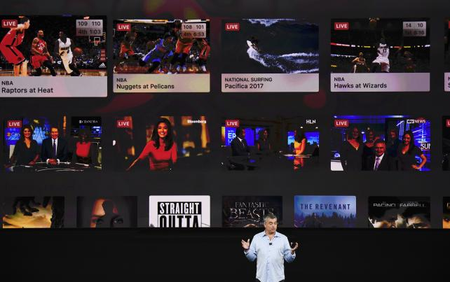 Eddy Cue, senior VP of internet software and services at Apple, speaks about Apple TV 4K during an event at the Steve Jobs Theater in Cupertino, California, on Tuesday.