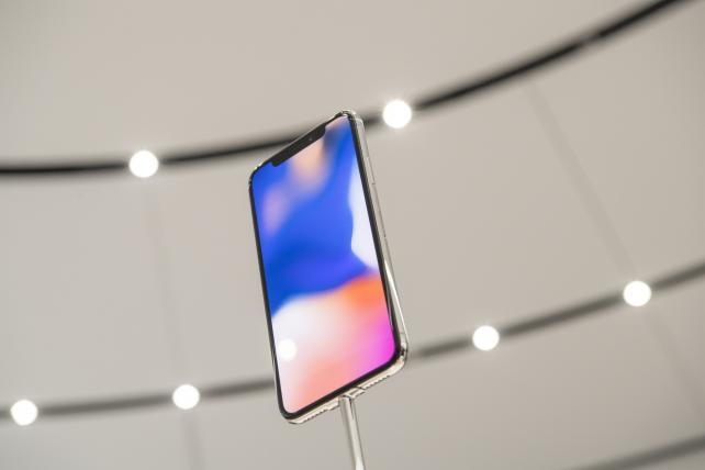 The iPhone X, Apple's most important new iPhone in years, is displayed during a promotional event at the Steve Jobs Theater in Cupertino, California, on Sept. 12.