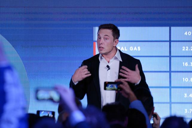 Elon Musk, co-founder and CEO of Tesla, speaks during an event at a wind farm last fall.