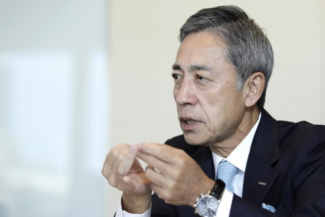 Shinichi Ueno, president and CEO of Asatsu-DK, speaks during an interview in Tokyo on Oct. 18, 2017.
