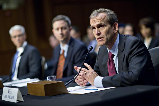 Kent Walker, right, general counsel with Google, speaks at a hearing on Wednesday.