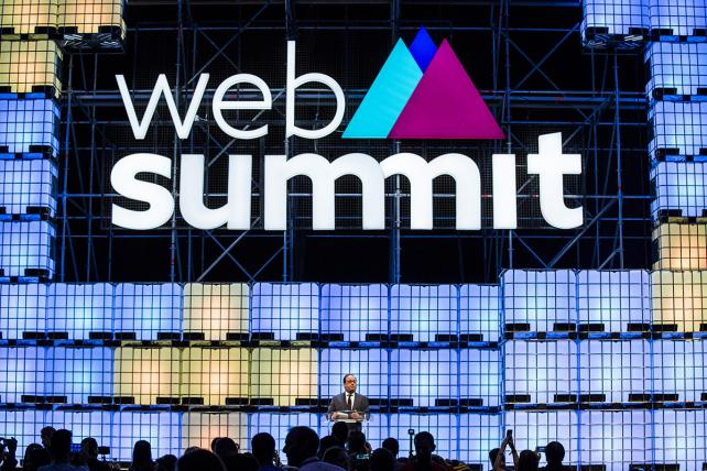 Francois Hollande, former French president, speaks at the Web Summit in Lisbon, Portugal, last week.