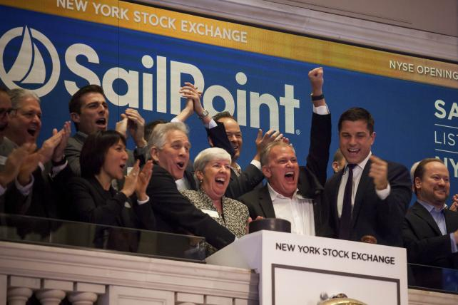 Juliette Rizkallah, chief marketing officer of Sailpoint Technologies, second left, and other Sailpoint executives ring the opening bell at the New York Stock Exchange during the company's IPO on Nov. 17.