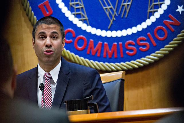 Ajit Pai, chairman of the Federal Communications Commission (FCC), speaks during an open commission meeting in Washington, D.C., on Thursday, Dec. 14, 2017.