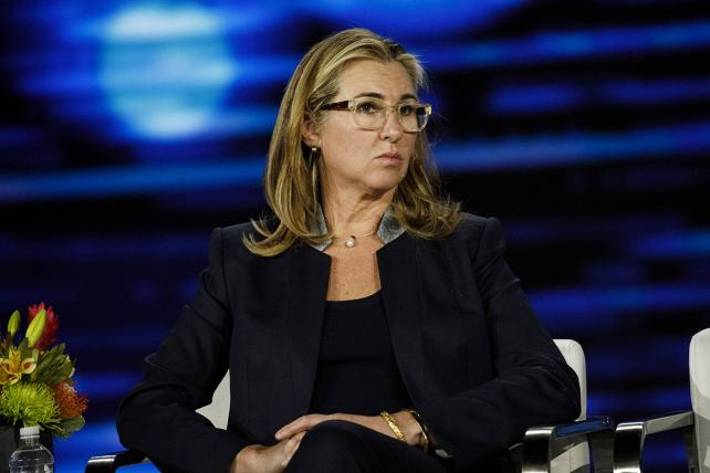 Nancy Dubuc, president and chief executive officer of A&E Networks, during a keynote event at the Consumer Electronics Show in Las Vegas in January.