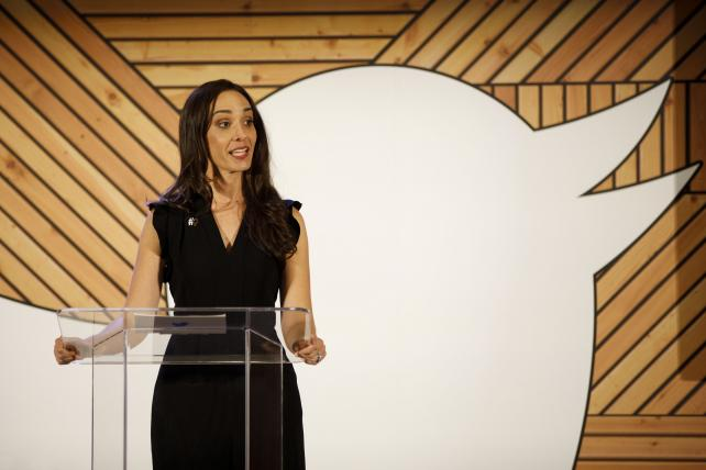 Leslie Berland, chief marketing officer at Twitter, speaks during the company's #HereWeAre Women In Tech event at the 2018 Consumer Electronics Show in Las Vegas, Nevada last month.
