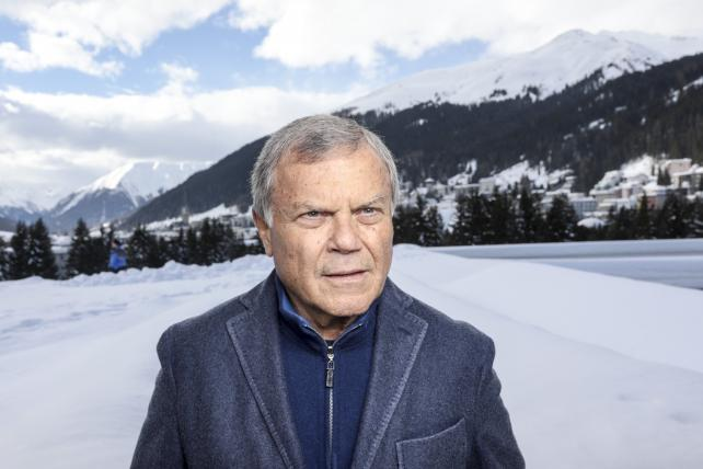 WPP CEO Martin Sorrell poses for a photograph following a Bloomberg Television interview on the closing day of the World Economic Forum in Davos, Switzerland, in January.