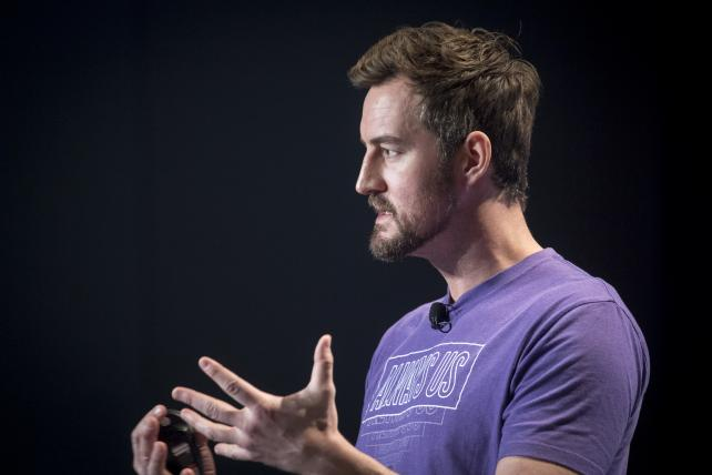 Miguel McKelvey, co-founder and chief creative officer of WeWork Inc., speaks during South By Southwest in Austin on March 12, 2018.