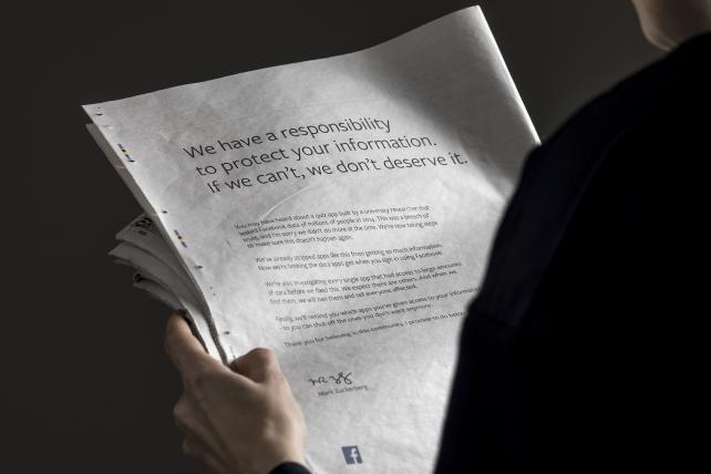 Facebook ran U.S. and U.K. newspaper ads over the weekend apologizing for not doing more to prevent customer data leaks.