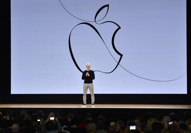 Tim Cook, chief executive officer of Apple, speaks during an even last month introducing a low-cost iPad geared toward students.