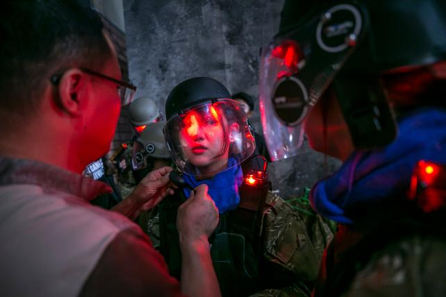 An attendee before playing a war game during SK Telecom's 5GX Game Festival in Goyang, South Korea, on Aug. 10, 2018.