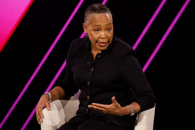Lisa Borders, president and chief executive officer of Time's Up, speaks during the 2019 Makers Conference in Dana Point, California, U.S., on Thursday, Feb. 7, 2019.