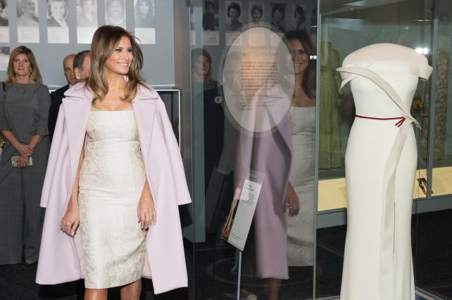 First Lady Melania Trump at the presentation of her inaugural gown at the Smithsonian National Museum of American History.