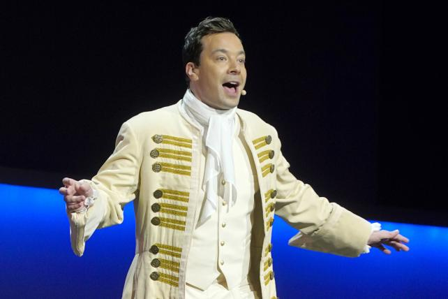 Jimmy Fallon performs in a 'Hamilton' spoof during NBC's upfront presentation in May.