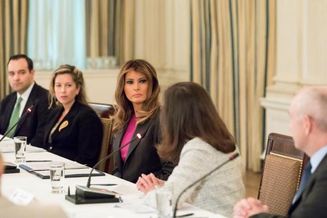 First Lady Melania Trump participates in a cybersecurity and technology roundtable.