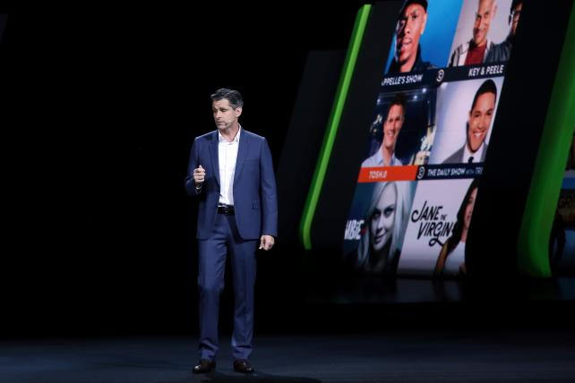 Hulu CEO Mike Hopkins speaks on stage during the 2016 Hulu Upfront on May 4 in New York.