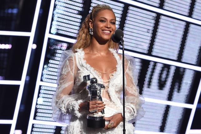 Beyoncé accepts the award for Video of the Year during the 2016 MTV Video Music Awards at Madison Square Garden on August 28, 2016, in New York City.