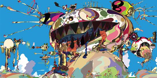 Takashi MurakamiTan Tan Bo Puking - a.k.a. Gero Tan, 2002Acrylic on canvas mounted on board141 3/4 x 283 7/16 x 2 5/8 inchesCollection of Amalia Dayan and Adam LindemannCourtesy of Galerie Emmanuel Perrotin, Paris and Miami (c)2002 Takashi Murakami/Kaikai Kiki Co., Ltd. All Rights Reserved.