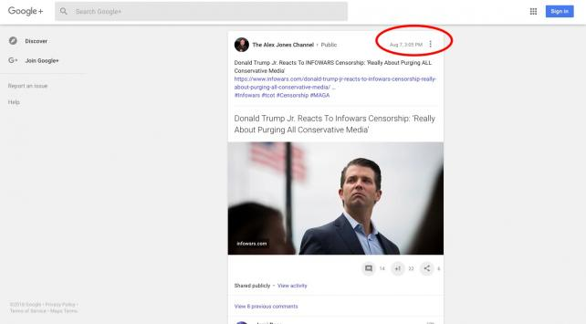 A screenshot of a post published on Alex Jones' Google+ page; the post had a total of seven comments.