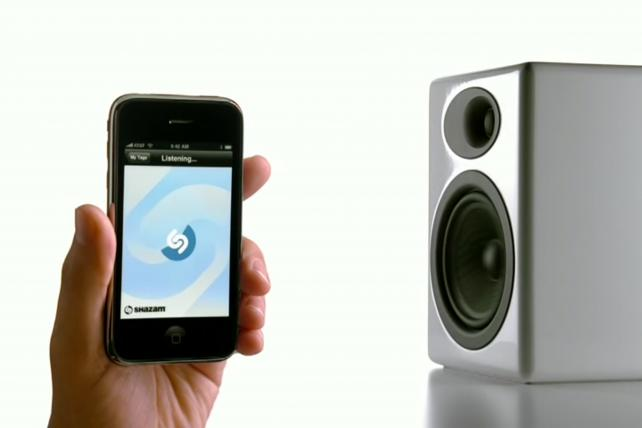 An old Apple ad promoted the Shazam app -- early days in the audio-recognition game.