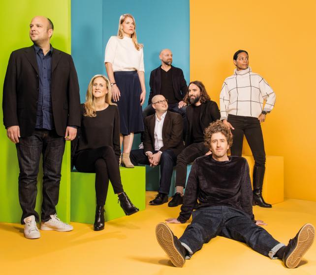 The expanded Johannes Leonardo team (above, from l.) Bryan Yasko, Emily Wilcox, Megan Piro, Mark Aronson (glasses), Jan Jacobs, Ferdinando Verderi, Leo Premutico and Dana May.
