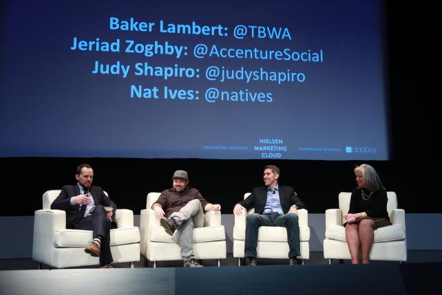 Ad Age Executive Editor Nat Ives talks with TBWA Global Data Director Baker Lambert, Accenture Interactive Global Head of Personalization Jeriad Zoghby and EngageSimply founder Judy Shapiro at the Ad Age IQ Conference: Marketing & Technology in New York on Tuesday.