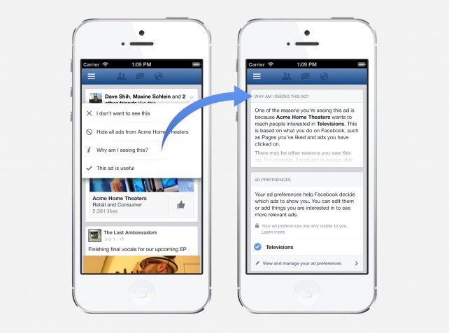 New privacy controls, telling users why each Facebook ad is targeted to them
