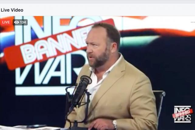 Alex Jones pops up on Facebook again, thwarting a ban on InfoWars