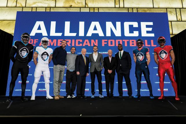 At the Alliance of American Football press conference in March.