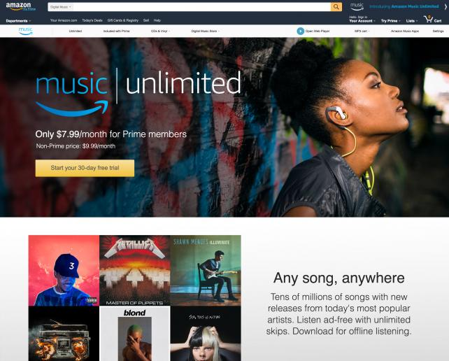 Amazon will give users access to a catalog of tens of millions of songs.
