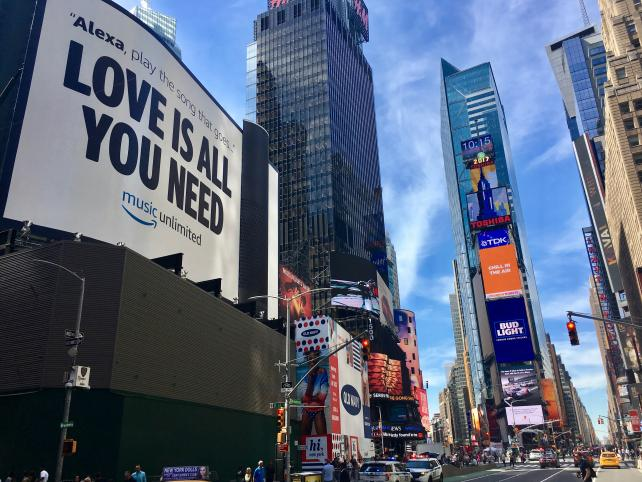 Amazon in June bought what it called Times Square's largest-ever ad installation, a seven-story replica of an Echo, to promote Amazon Music.