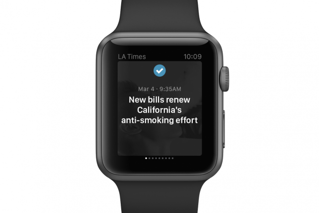 A Los Angeles Times headline as it would be seen on the Apple Watch