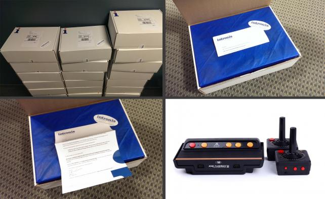 Intronis direct-mail campaign: boxes, branding and Atari consoles.