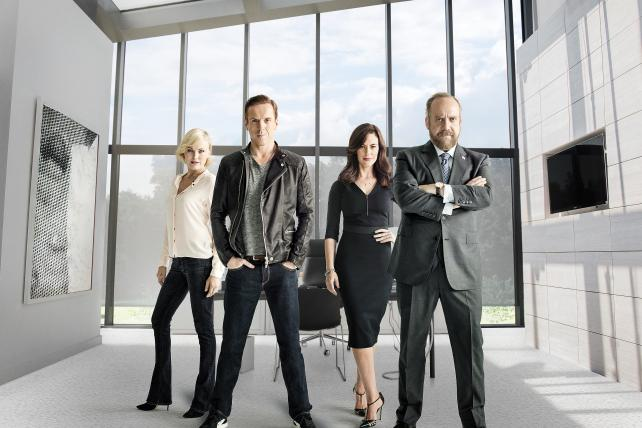 Malin Akerman as Lara Axelrod, Damian Lewis as Bobby 'Axe' Axelrod, Maggie Siff as Wendy Rhoades and Paul Giamatti as Chuck Rhoades on the new Showtime series 'Billions.'