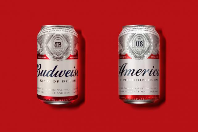 Budweiser is replacing its brand name on certain packaging this year with 'America.'