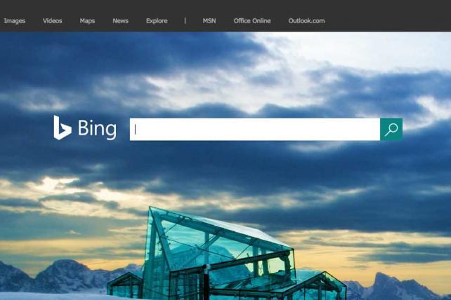 Microsoft Bing's homepage.