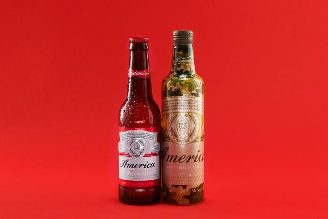 Budweiser 'America' and camouflage bottles.