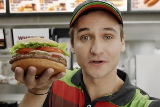 A still from a Burger King ad designed to trigger viewers' Google Home personal assistants as it ended.