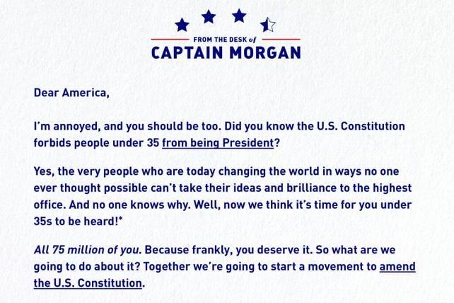 Captain Morgan's New York Times ad.