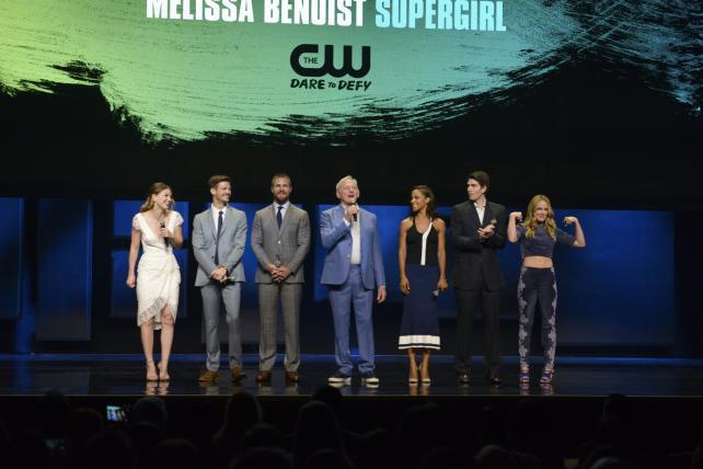 Melissa Benoist, Grant Gustin, Stephen Amell, Victor Garber, Megalyn Echikunwoke, Brandon Routh and Caity Lotz appear at the CW's upfront presentation.