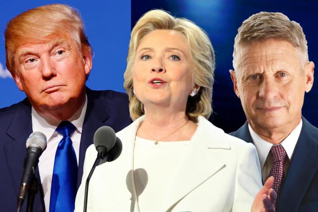 Donald Trump, Hillary Clinton and Gary Johnson.