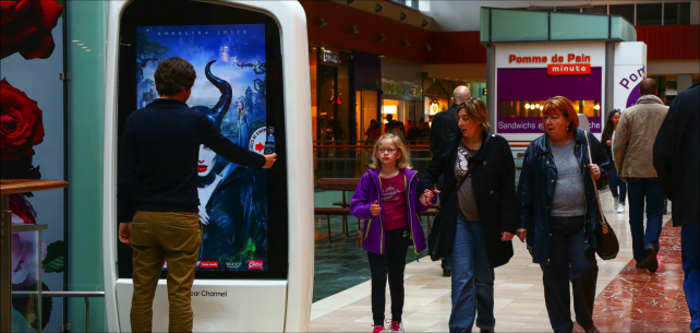 Consumers engage with the displays.