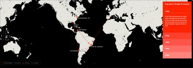 An interactive map is one element of a large package promoting the new Netflix series 'Narcos.'