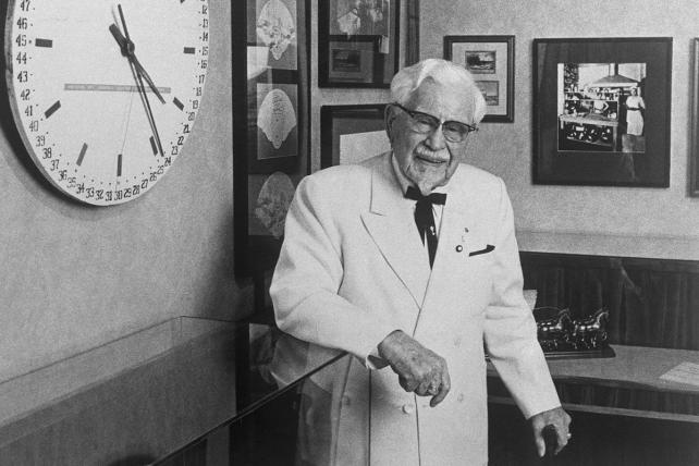 Colonel Harland Sanders, the founder of Kentucky Fried Chicken