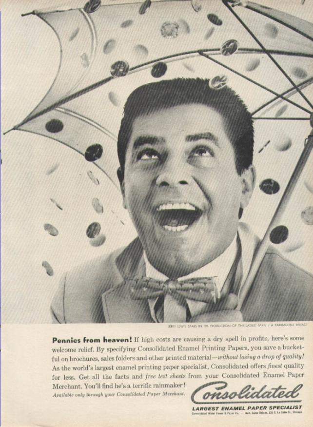 Consolidated Enamel Paper Pennies from Heaven print ad with Jerry Lewis