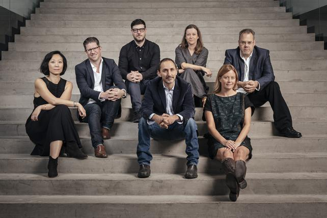 Droga5's Leaders (from l.): Chief Operating Officer Susie Nam; Chief Marketing Officer Chris Wollen; Global Chief Strategy Officer Jonny Bauer; founder-Creative Chairman David Droga; Chief Creation Officer Sally-Ann Dale; Global/New York CEO Sarah Thompson; New York Chief Creative Officer Ted Royer