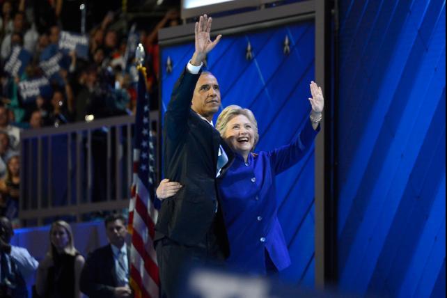 Obama and Hillary hugging at DNC