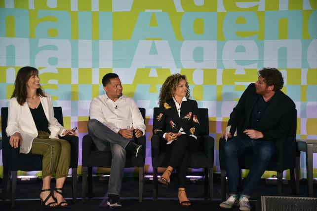 Jean Grabow, president and managing partner at Dailey; Ahmad Islam, CEO and managing partner at Ten35; Sharon Napier, CEO at Partners & Napier; and Ad Age Editor Brian Braiker discuss giving up independence during Ad Age's Small Agency Conference on Wednesday.