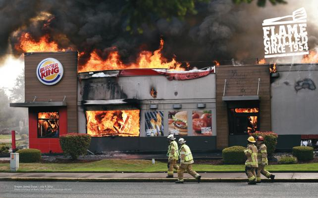 David makes sure people know that Burger King's burgers are flame-grilled with ads showing actual stores on fire.