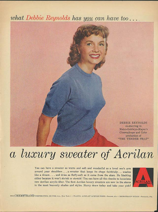 Debbie Reynolds in Acrilan fabric ads.